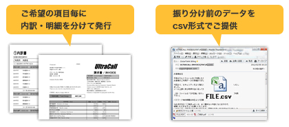 ご希望の項目毎に内訳・明細を分けて発行。振り分け前のデータをcsv形式でご提供。
